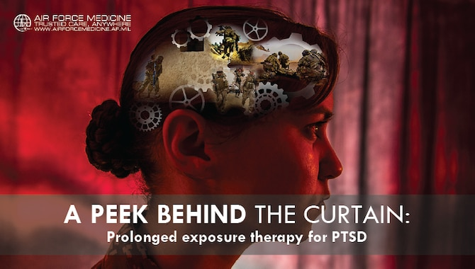 The symptoms associated with post-traumatic stress disorder (PTSD) can often be debilitating, significantly affecting a patient's quality of life. Air Force mental health professionals have successfully treated many Airmen with the use of prolonged exposure therapy. Through this collaborative therapy, the patient is safely and gradually exposed to trauma-related memories and situations that have been avoided. The eventual goal is to alter the patient's relationship with and reaction to the traumatic event so it no longer affects their quality of life and ability to do their job. (U.S. Air Force graphic by Josh Mahler)