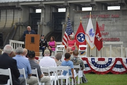 La Vergne Mayor Dennis Waldron speaks about the impact of the project with her community during the 50th Anniversary of J. Percy Priest Dam and Reservoir at the dam in Nashville, Tenn., June 29, 2018. (USACE Photo by Lee Roberts)