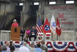 Author Rebecca Stubbs speaks about the legacy of J. Percy Priest during the 50th Anniversary of J. Percy Priest Dam and Reservoir at the dam in Nashville, Tenn., June 29, 2018. (USACE Photo by Lee Roberts)