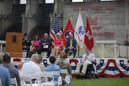 State Rep. Darren Jernigan, Tennessee District 60, speaks about his memories of the dam and lake during the 50th Anniversary of J. Percy Priest Dam and Reservoir at the dam in Nashville, Tenn., June 29, 2018. (USACE Photo by Lee Roberts)