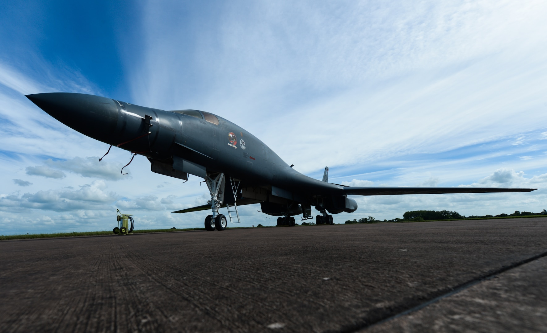 Multimission, supersonic bomber B-1B Lancer parked on flightline at Royal Air Force Fairford, United Kingdom, June 9, 2017, supports exercises Baltops 17 and Saber Strike 17 (U.S. Air Force/Curt Beach)