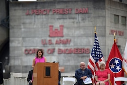 Smyrna Mayor Mary Esther Reed speaks about the impact of the project with her community during the 50th Anniversary of J. Percy Priest Dam and Reservoir at the dam in Nashville, Tenn., June 29, 2018. (USACE Photo by Lee Roberts)