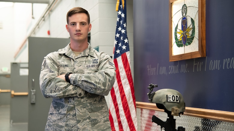 Senior Airman Patrick Schilling, an explosive ordnance disposal technician at Hill Air Force Base, was recently named one of the Air Force's 12 Outstanding Airmen of the Year. Annually, the Air Force selects 12 enlisted Airmen from various career fields based on superior leadership, job performance and personal achievements. (U.S. Air Force photo by R. Nial Bradshaw)