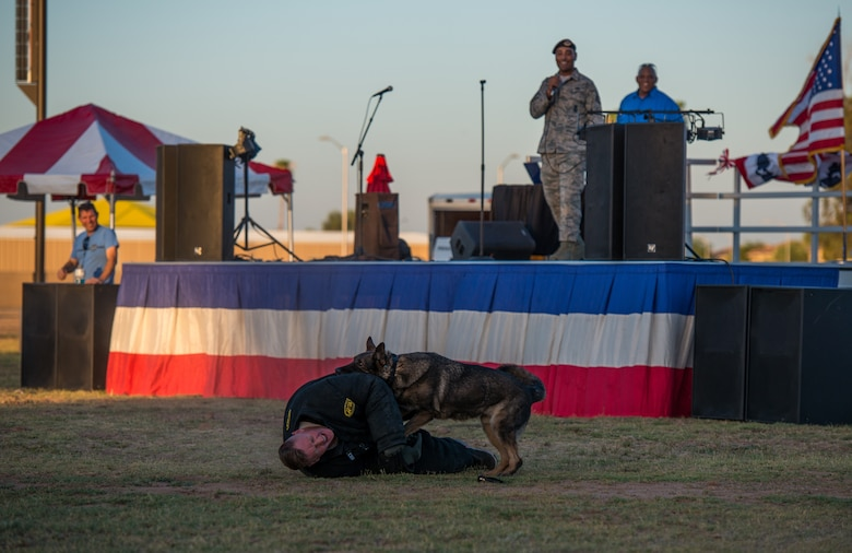 An Airman assigned to the 56th Security Forces Squadron participates in a military working dog demonstration during the annual Freedom Fest celebration June 29, 2018 at Luke Air Force Base, Ariz. The festival kicked off with a MWD demo to showcase the MWD's capabilities of biting and holding potential suspects. (U.S. Air Force photo by Airman 1st Class Alexander Cook)
