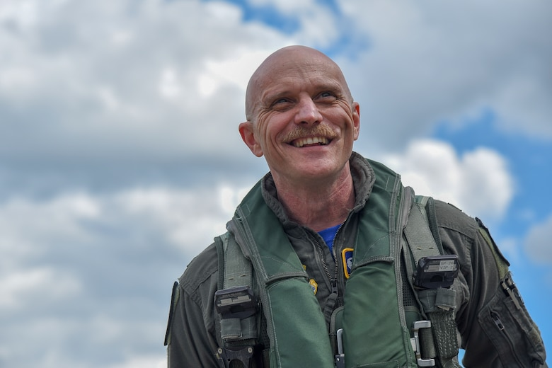 U.S. Air Force Col. R. Scott Jobe, the 35th Fighter Wing commander, smiles before a familiarization flight at Misawa Air Base, Japan, June 22, 2018. The flight gave Jobe, an F-16 Fighting Falcon pilot, an opportunity to experience the responsibilities of an F-2 pilot and further enhance understanding of the aircraft's differences. (U.S. Air Force photo by Airman 1st Class Collette Brooks)