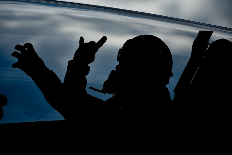 U.S. Air Force Col. R. Scott Jobe, the 35th Fighter Wing commander, throws up the 13th and 14th Fighter Squadrons' signs, respectively, before an F-2 familiarization flight at Misawa Air Base, Japan, June 22, 2018. This flight allowed Jobe to experience Japan Air Self-Defense Force tactics and aircraft capabilities. (U.S. Air Force photo by Airman 1st Class Collette Brooks)