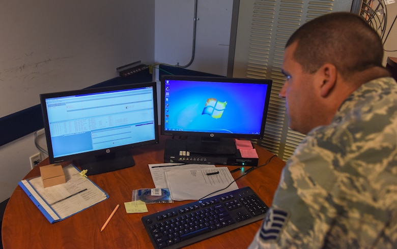 Airmen monitors radio tracking system