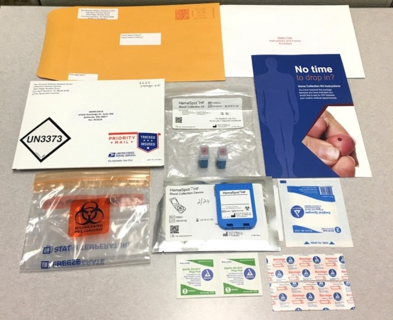 The Air Force offers self-collection kits that include instructions, supplies to obtain a finger-prick blood sample, and a prepaid envelope to mail the sample to a lab for HIV testing. (Photo by Military Health System Communications Office)