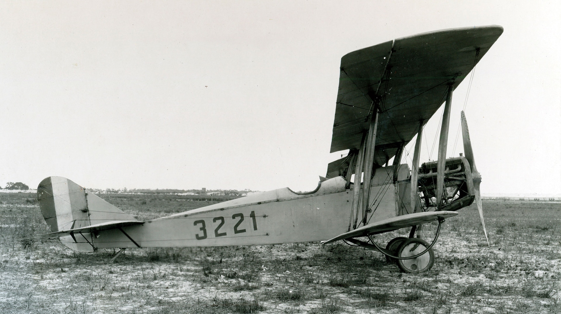 "Curtiss JN-4H, nicknamed ""Jenny,"" at U.S. Marine Flying Field, Miami, Florida, circa 1918 (Naval History and Heritage Command)"