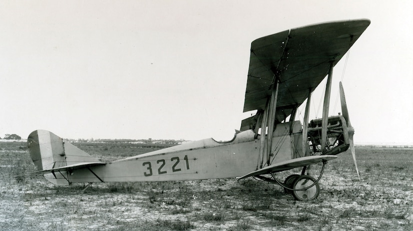 "Curtiss JN-4H, nicknamed ""Jenny,"" at U.S. Marine Flying Field, Miami, Florida, circa 1918 (Naval History and Heritage Command)"
