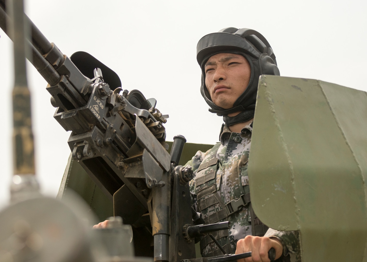 PLA soldier participates in attack exercise observed by General Joseph F. Dunford, Jr., and General Song Puxuan, commander, Northern Theater Command, at base in Shenyang, China, August 16, 2017 (DOD/Dominique A. Pineiro)