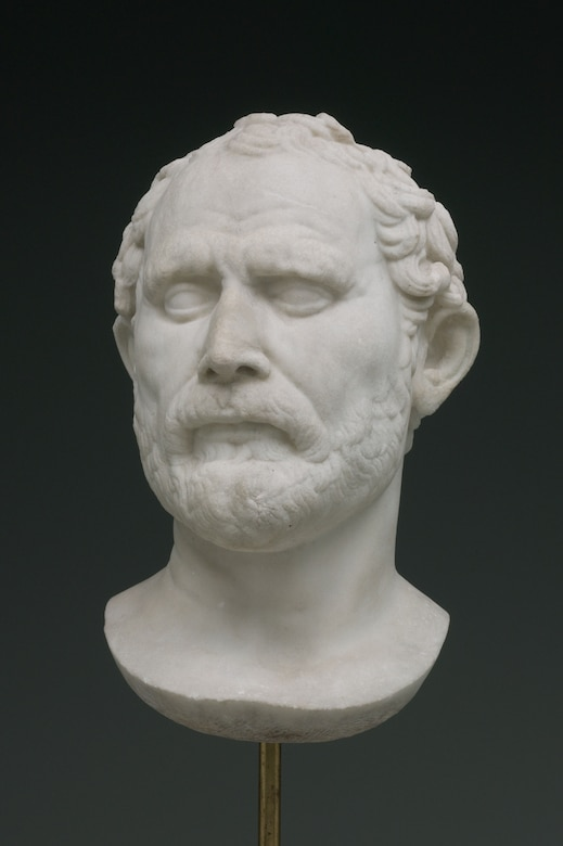 Marble portrait of Demosthenes, after Polyeuktos, Greek, active 280 BCE (Courtesy Yale University Art Gallery)