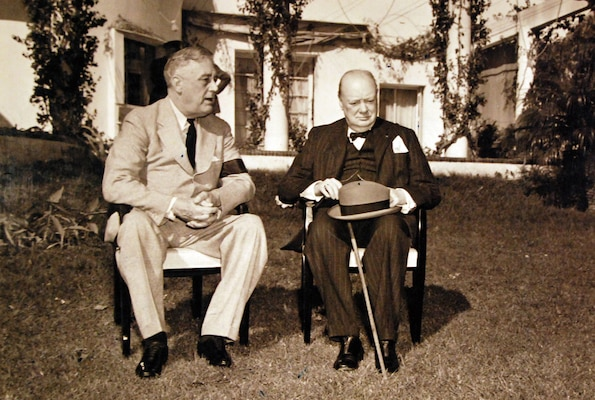 President Franklin D. Roosevelt and Prime Minister Winston Churchill in garden of presidential villa during Casablanca Conference, French Morocco, January 1943 (U.S. Navy, U.S. National Archives and Records Administration)