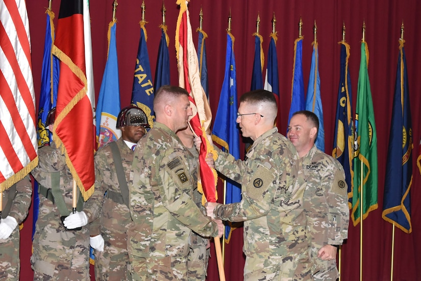 Maj. Gen. David C. Hill, deputy commanding general, of US Army Central presided over a Change of Command ceremony for Area Support Group - Kuwait from Col. Steven R. Berger to Col. Shannon E. Nielsen at Camp Arifjan, Kuwait on July 2, 2018.