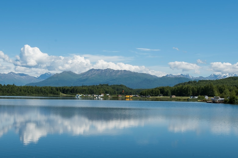 The Elmendorf Aero club provides access to water landings and floating docks on Lower Sixmile Lake at Joint Base Elmendorf-Richardson, Alaska, July 2, 2018. The club offers rentable spaces for seaplanes, flying boats, and amphibious aircraft designed to take off and alight on water.