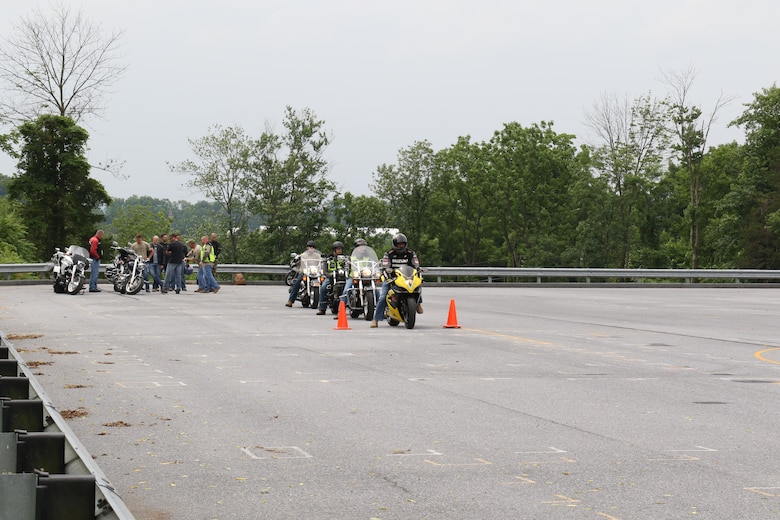 Pennsylvania Army and Air National Guardsmen participate in a motorcycle safety day held at Fort Indiantown Gap, Pennsylvania and the surrounding area, June 22, 2018. The course was taught by Pennsylvania Guardsmen; giving the riders advanced tips on staying safe while riding. (U.S. Air Force Photo by Master Sgt. Culeen Shaffer/Released)