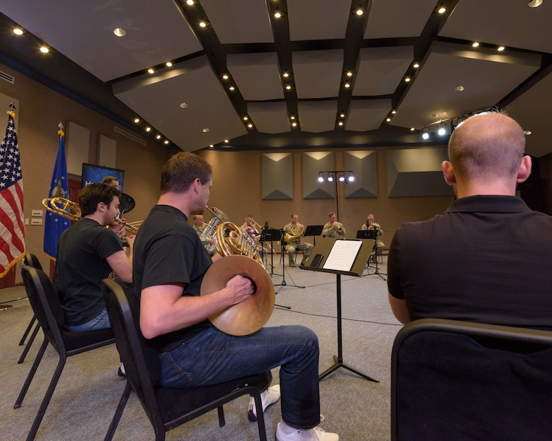Canadian Brass and the Heartland of America Band's Offutt Brass rehearse a Baroque song written by Samuel Scheidt June 8, 2018, at Offutt Air Force Base, Nebraska. The six members of Offutt Brass were able to play music outside of their everyday repertoire by pairing with the Canadian quintet. (U.S. Air Force photo by Senior Airman Jacob Skovo)