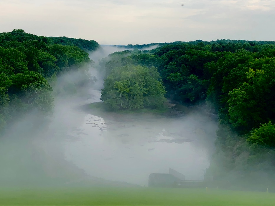 Fog lingers along the Salamonie Outlet Channel