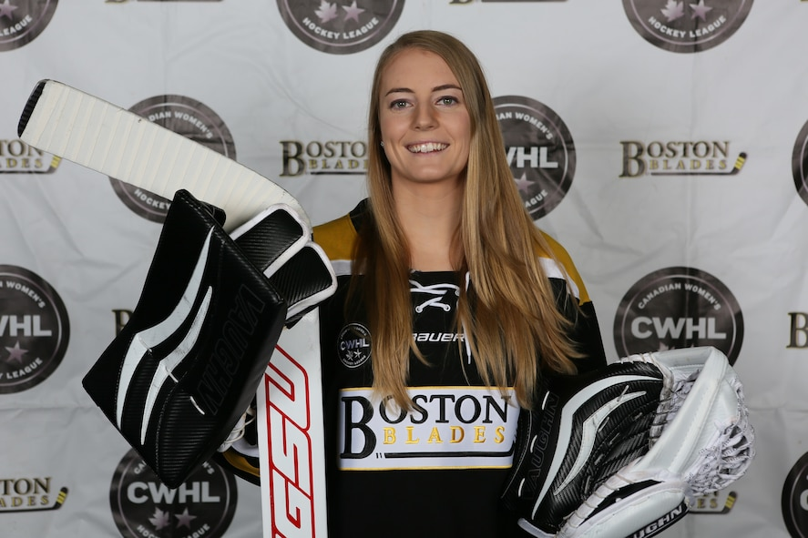 Canadian Women's Hockey League headshot of Boston Blades goalie Jetta Rackleff, a Palace Acquire civilian developmental hire in the Battle Management Directorate's Weather division at Hanscom Air Force Base, Mass. (Photo Courtesy of Canadian Women's Hockey League)