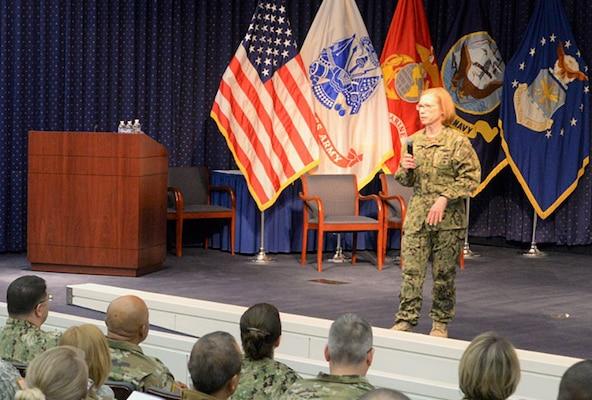 Navy Rear Adm. Deborah Haven addresses DLA's reservists in a recent training event.