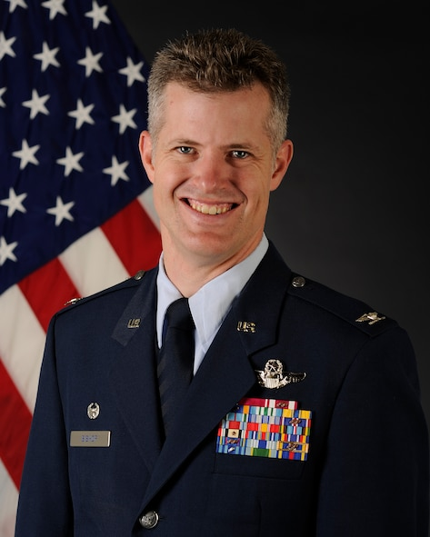 Col. Benjamin W. Bishop poses for an official photo at Eielson Air Force Base, Alaska, July 3, 2018. Bishop assumed command of the 354th Fighter Wing on July 6, 2018. (U.S. Air Force photo by Senior Airman Isaac Johnson)