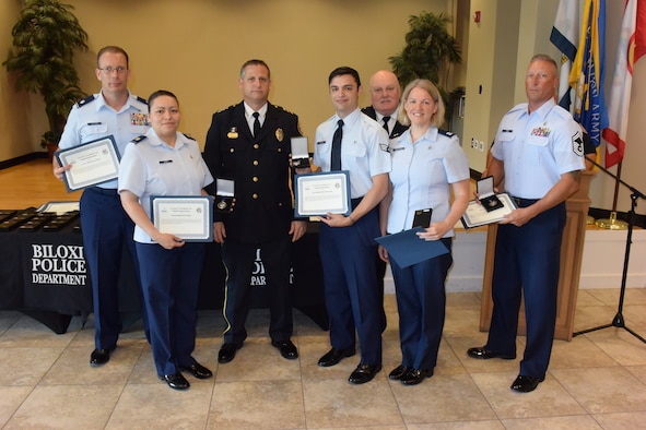 81st MDG members receive humanitarian award from Biloxi Police Department July 6, 2018.