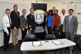 Officials from California State University, Los Angeles, and the U.S. Army Corps of Engineers Los Angeles District gathered for  a partnering agreement signing ceremony July 5 in Los Angeles, California, to foster collaboration in a relationship that stresses the importance of Science, Technology, Engineering and Mathematics. The agreement also provides a road map to employment with the Corps through various programs, including the Pathways internship program.