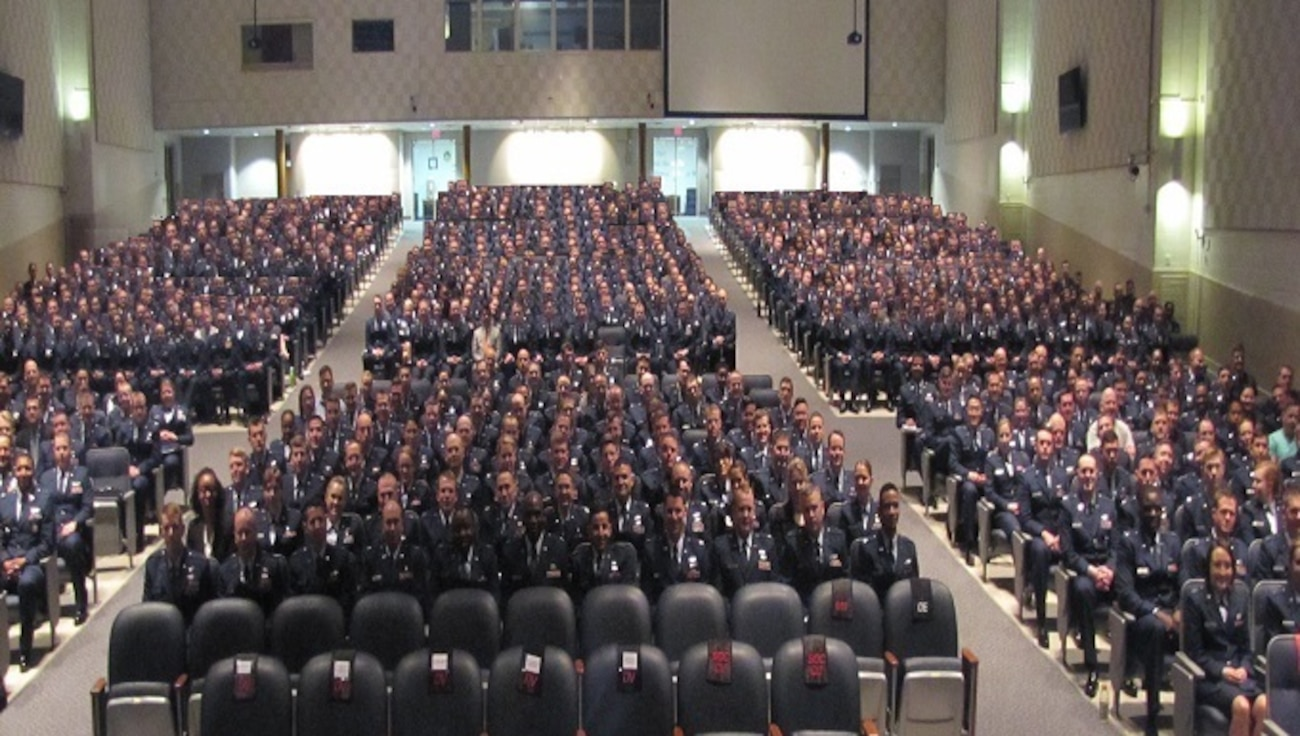 Squadron Officer School students assembled in the Polifka Auditorium