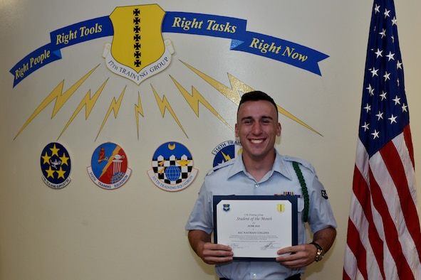 17th Training Group Student of the Month spotlight for June 2018, U.S. Air Force Airman 1st Class Nathan Collin, 316th TRS trainee, holds his award in front of a mural at Brandenburg Hall on Goodfellow Air Force Base, Texas, July 6, 2018. Collin is the Goodfellow Student of the Month spotlight for June 2018, a series highlighting Goodfellow students. (U.S. Air Force photo by Senior Airman Randall Moose/Released)