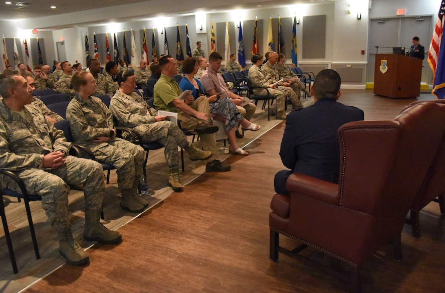 U.S. Air Force Col. Beatrice Dolihite, 81st Medical Group commander, delivers remarks during the 81st Surgical Operations Squadron assumption of command ceremony at the Keesler Medical Center on Keesler Air Force Base, Mississippi, July 2, 2018. Lt. Col. Ryan Mihata, incoming 81st MSGS commander, assumed command by accepting the guidon from Dolihite during the ceremony. (U.S. Air Force photo by Kemberly Groue)