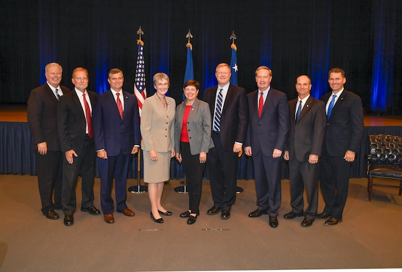 Secretary of the Air Force Heather Wilson hosts the annual Presidential Rank Awards ceremony and stands with this year's recipients in the Pentagon Auditorium, Arlington, Va., July 6, 2018. The honorees include D. Mark Peterson, Steven D. Wert, David Drake, Patricia Young, Randell Walden, C. Douglas Ebersole, Dr. Kenneth Barker and Andrew Cox. (US Air Force Photo by Andy Morataya)