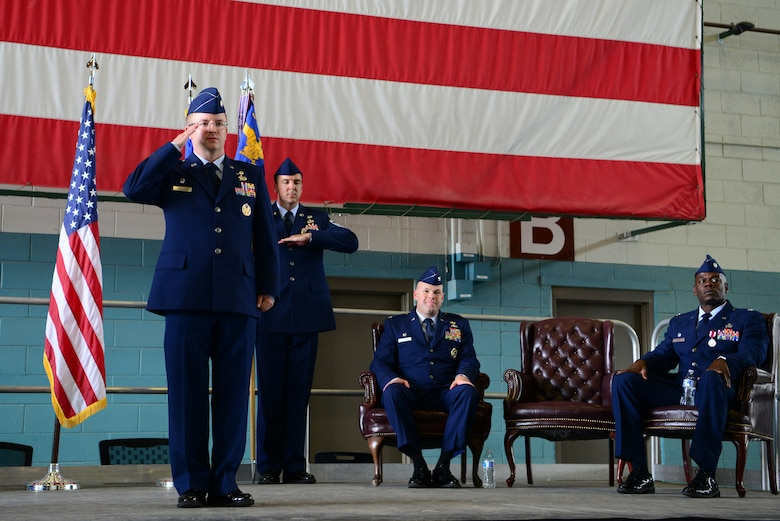 U.S. Air Force Lt. Col. Scott Ruppel, 58th Aircraft Maintenance Squadron commander, receives his first salute at the 58th AMXS change of command ceremony at Kirtland Air Force Base, N.M., July 6. Ruppel's previous assignment was the UH-1N replacement and CV-22 Program element monitor, Pentagon, Va. (U.S. Air Force photo by SrA Eli Chevalier)