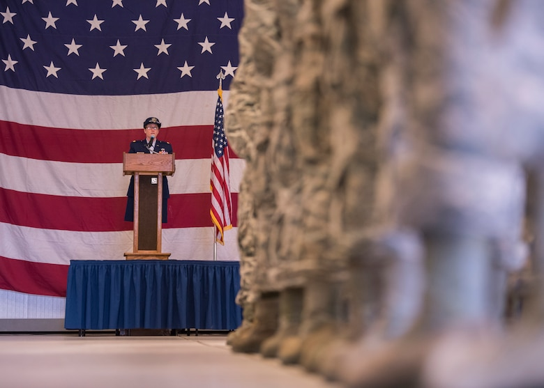U.S. Air Force Maj. Lisa Stokey, 58th Maintenance Squadron commander speaks to her Airmen during the 58th MXS change of command ceremony at Kirtland Air Force Base, N.M., July 6. Prior to arriving at Kirtland, Stokey was a student at Air Command and Staff College, Maxwell Air Force Base, Al. (U.S. Air Force photo by Staff Sgt. J.D. Strong II)