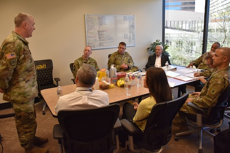 Major Michael Hay, officer-in-charge of the Phoenix Medical Recruiting Station, briefs details of the Stop the Bleed initiative to senior leaders during U.S. Army Recruiting Command's Deputy Commanding General of Operations, Brigadier General Kevin Vereen's visit to the station. Joining the DCG-O for the brief were 6th Medical Recruiting Battalion Commander, Lieutenant Colonel Matthew Mapes, Civilian Aide to the Secretary of the Army, Dr. Randy Groth, and Community Partners.