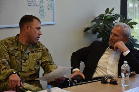 Lieutenant Colonel Matthew Mapes, commander of the 6th Medical Recruiting Battalion, discusses the medical recruiting mission with Civilian Aide to the Secretary of the Army, Dr. Randy Groth. Groth attended the unit's situational awareness brief along with U.S. Army Recruiting Command's Deputy Commanding General of Operations, Brigadier General Kevin Vereen during the DCG-O's visit to the Phoenix Medical Recruiting Station.