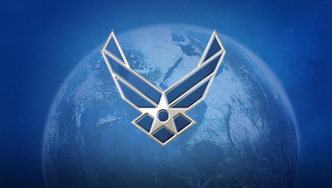 Air Force Logo overlayed on globe