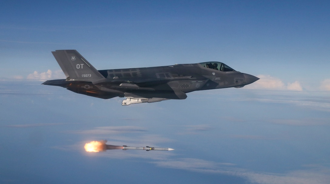 F-35A Lightning II test aircraft assigned to 31st Test Evaluation Squadron from Edwards Air Force Base, California, released AIM-120 AMRAAM and AIM-9X missiles at QF-16 targets during live-fire test over range in Gulf of Mexico, June 12, 2018 (U.S. Air Force/Michael Jackson)