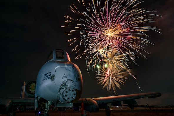 An A-10 Thunderbolt II from the 25th Fighter Squadron sits on display during the 4th of July Liberty Festival at Osan Air Base, Republic of Korea, July 4, 2018. More than 4,500 service members and their families attended the festival to enjoy food, entertainment and a fireworks show hosted by the 51st Force Support Squadron and various supporting organizations. (U.S. Air Force photo by Staff Sgt. Rachel Maxwell)