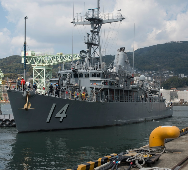 SASEBO, Japan (Mar. 17, 2017) Avenger-class mine countermeasures ship USS Chief (MCM 14) departs Commander, U.S. Fleet Activities Sasebo Mar. 17, 2017. Avenger-class ships are designed as mine sweepers/hunter-killers capable of finding, classifying and destroying moored and bottom mines