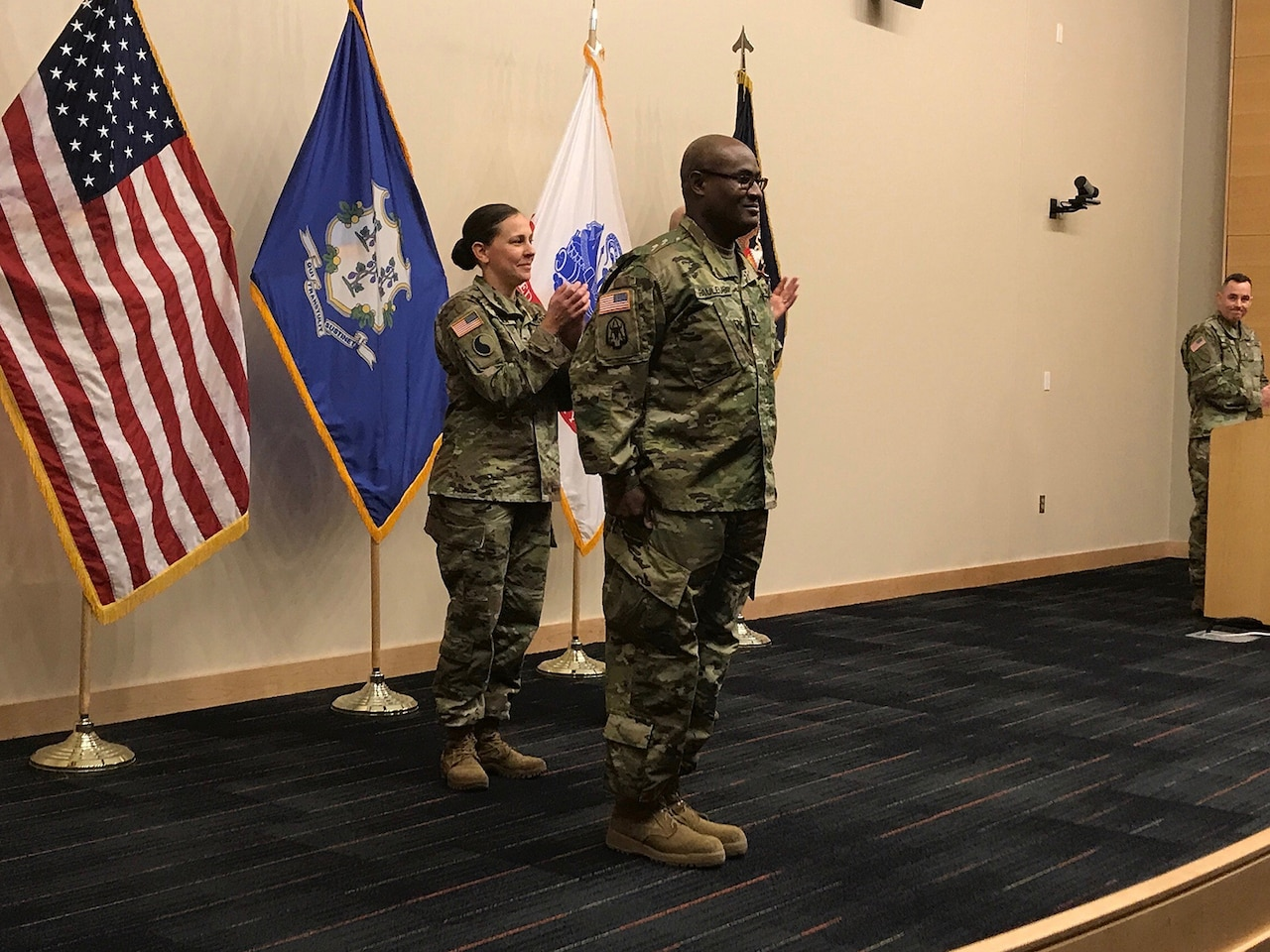 An Army warrant officer is commissioned.