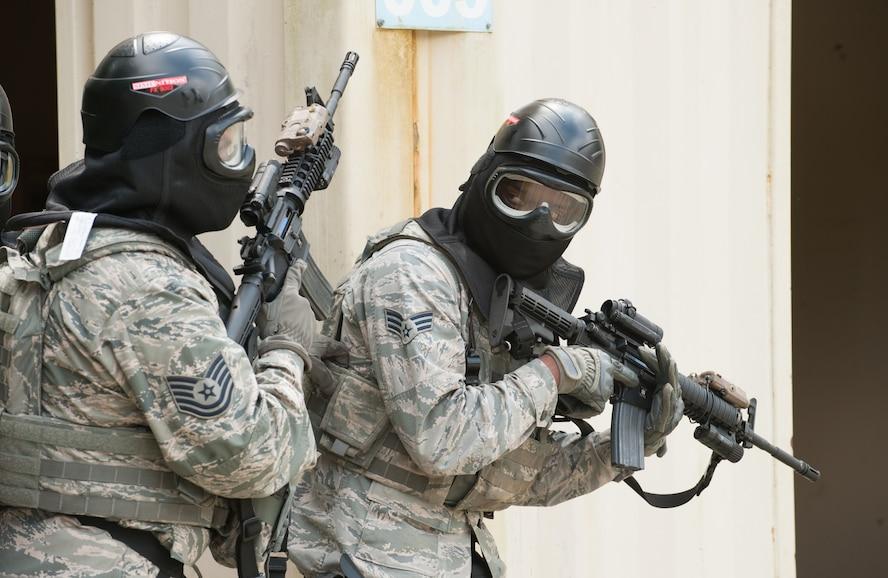 USAF Airmen practice close combat firearm skills
