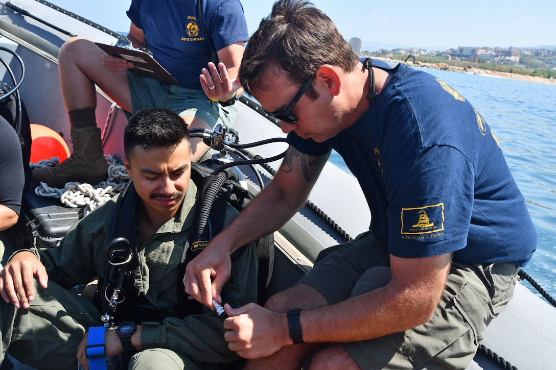 Senior Chief Navy Diver Mike McInroy (right) conducts pre-dive equipment checks with Navy Diver 3rd Class Dennis Krzanak during exercise Resolute Response (RR) 18. RR18 is a bilateral explosive ordnance disposal, diving and visit, board, search and seizure engagement with the U.S. and Lebanese Armed Forces to enhance military-to-military cooperation and counter maritime threats. (U.S. Navy photo by Mass Communication Specialist 1st Class Bryan Neal Blair/Released)