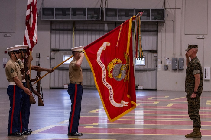 Col. Jeffrey C. Smitherman, the outgoing commanding officer of 6th Marine Corps District (MCD), salutes Brig. Gen. James F. Glynn, the commanding general of Eastern Recruiting Region, during the awards portion of a change of command ceremony at Parris Island, South Carolina, July 2, 2018. During the ceremony, Smitherman relinquished his command to Col. William C. Gray. (U.S. Marine Corps photo by Cpl. Jorge A. Rosales)