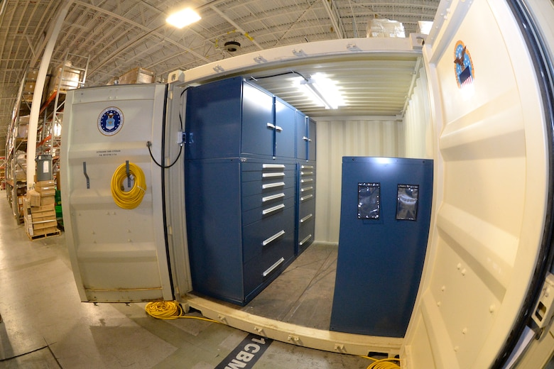 A storage container used for maintaining missile launch facilities and control centers is displayed at Hill Air Force Base, Utah. A recent merger between the Air Force Materiel Command Logistics, Civil Engineering and Force Protection Directorate and the Strategic Deterrence and Nuclear Integration Directorates aims to better align AFMC efforts to support Air Force nuclear modernization missions. (U.S. Air Force photo by Todd Cromar)