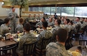 U.S. Air Force Col. C. Mike Smith, 81st Training Wing vice commander, provides comments to ROTC cadets during a mentorship luncheon in the Azalea Dining Facility at Keesler Air Force Base, Mississippi, July 9, 2018. Cadets from various college and university ROTC programs attended a two-and-a-half-week professional development training course during their stay at Keesler. (U.S. Air Force photo by Kemberly Groue)