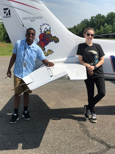 Cadet Ruth Robey, Hixson High School, Hixson, Tennessee, flies a Cessna 172 as part of the Chief of Staff of the Air Force Flight Academy program at Liberty University, Lynchburg, Virginia. Robey is one of 120 cadets selected for a Flight Academy scholarship by Air Force Junior ROTC. The Chief of Staff of the Air Force Flight Academy scholarship program allows selected Air Force Junior ROTC cadets to attend an accredited aviation program at one of six partnering universities to get a private pilot license. (Courtesy Photo)