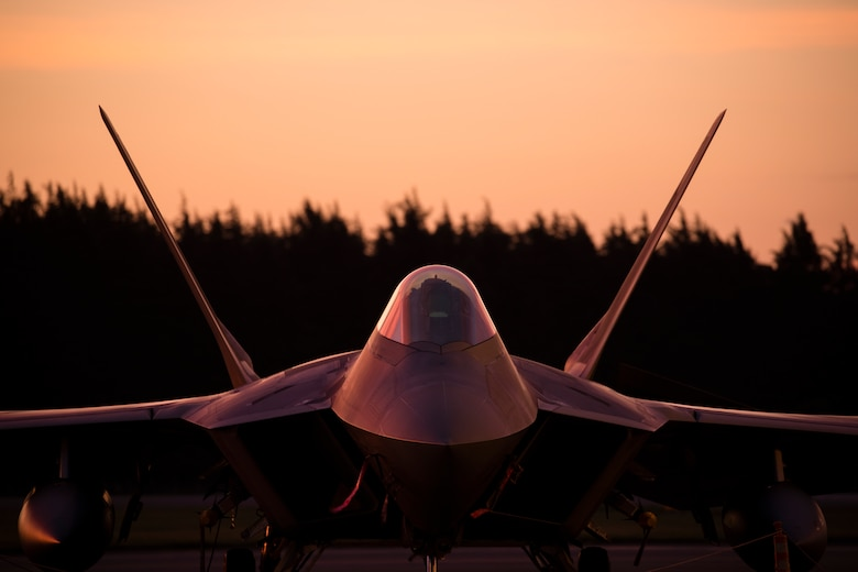 A U.S. Air Force F-22 Raptor from Joint Base Elmendorf-Richardson, Alaska
