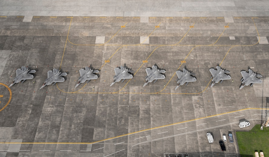 Eight U.S. Air Force F-22 Raptors from Joint Base Elmendorf-Richardson, Alaska,
