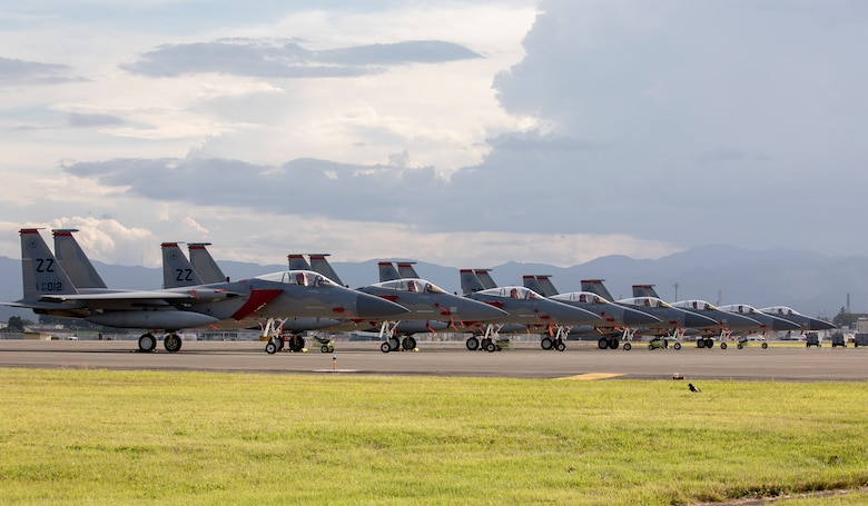 Eight U.S. Air Force F-15 Eagles from Kadena Air Base