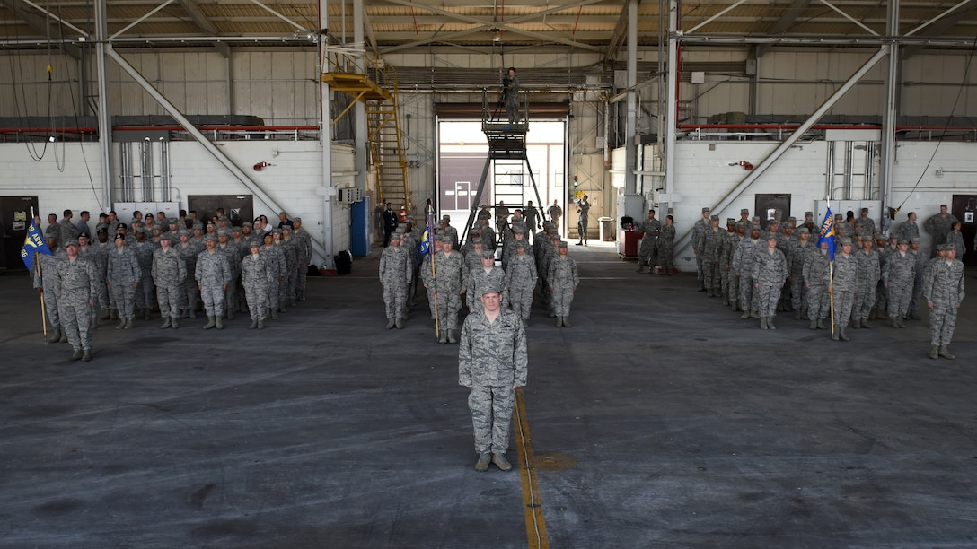 Members of the 39th Air Base Wing stand in formation during a change of command at Incirlik Air Base, Turkey, July 10, 2018.